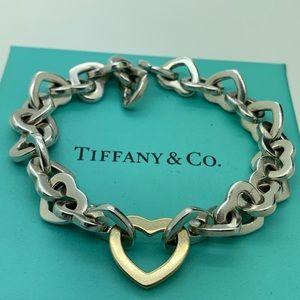 """Tiffany & Co.925 18KT Gold Hearts Bracelet 7.5"""""""